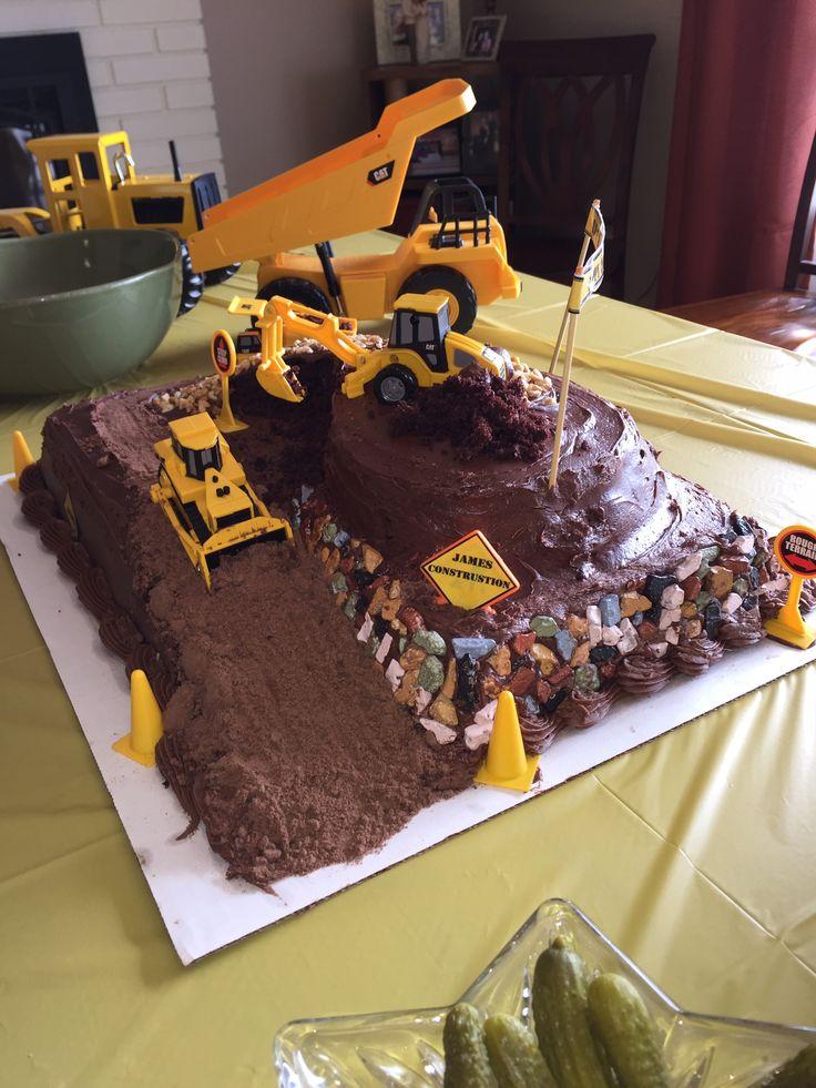Dump truck, excavator, backhoe birthday cake