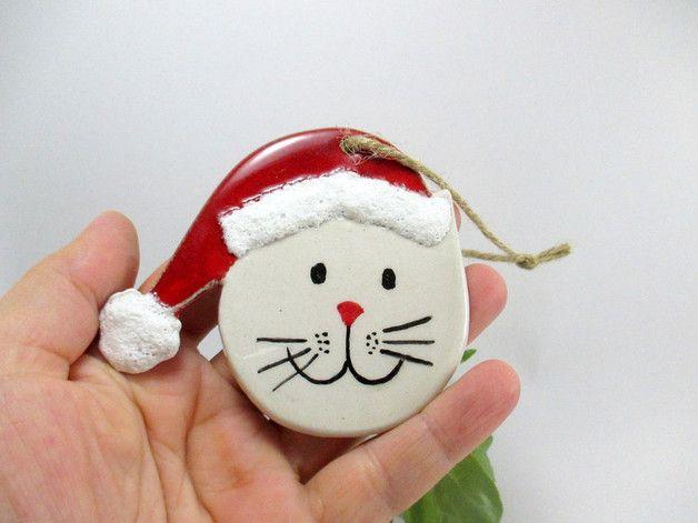 via en.dawanda.com Ornaments – Handmade ceramic christmas tree ornament /Cat – a unique product by nazceramic on DaWanda