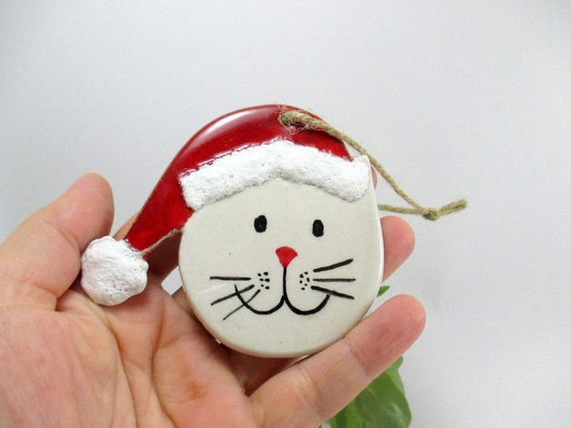 via en.dawanda.com Ornaments – Handmade ceramic christmas tree ornament /Cat – a unique product by nazceramic on DaWanda