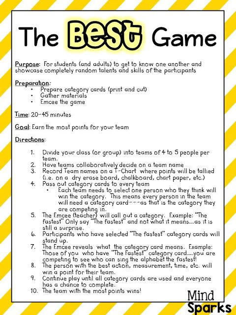The BEST Game--A Team Builder! A great game to get students talking, having fun and working as a team! Super for the first few days of school!