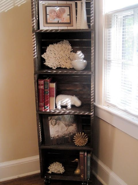 I have been searching for a corner bookcase for a few months now. With no luck, I decided to make something myself. I've always loved the look of old wooden crates, but after seeing the price of ju...