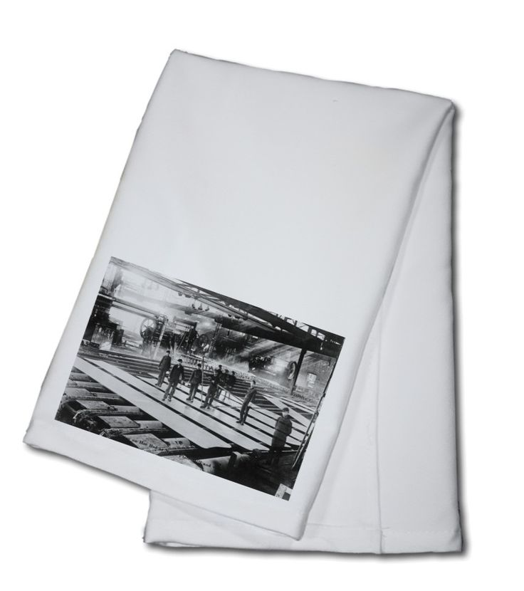 Towel (Men Laying out Plates in Steel Mill - Vintage Photograph)