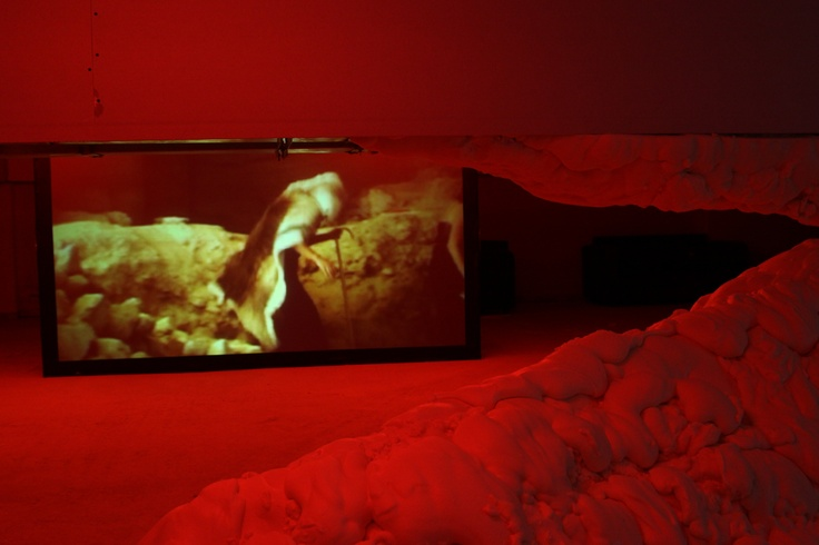 "Mark Aerial Waller Reversion of the Beast Folk, 2003 video installation, 12' Courtesy: RODEO, Istanbul Installation view, 2nd Athens Biennale 2009 ""Heaven"""