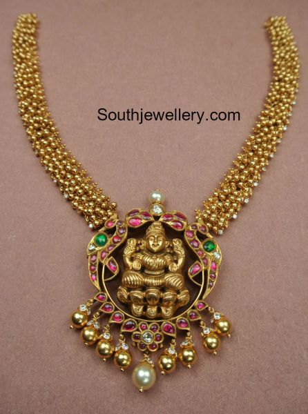 Gajjalu Necklace with Lakshmi Pendant