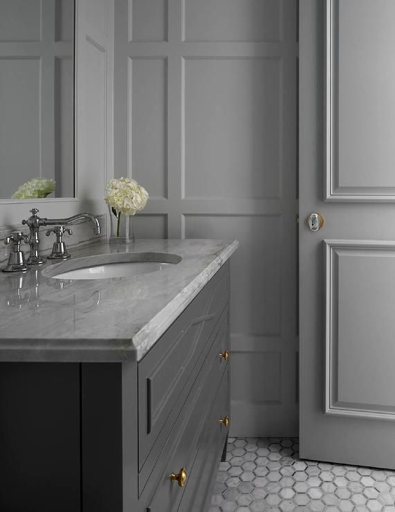 25 best ideas about gray bathrooms on pinterest half for Bathroom color ideas gray tile