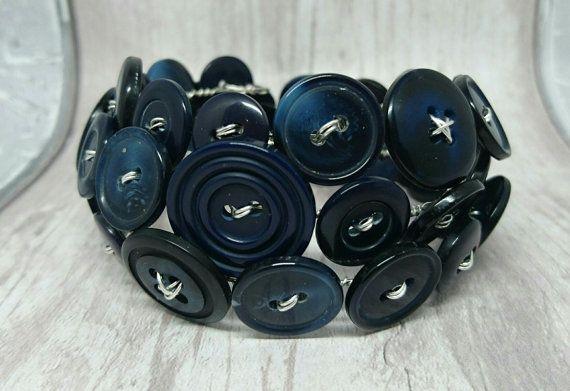Navy blue wraparound button bracelet by FolbarJewellery on Etsy