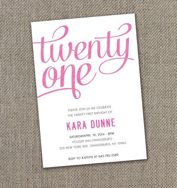 Twenty First - Birthday Invitation. 21st Birthday Invite. DIY