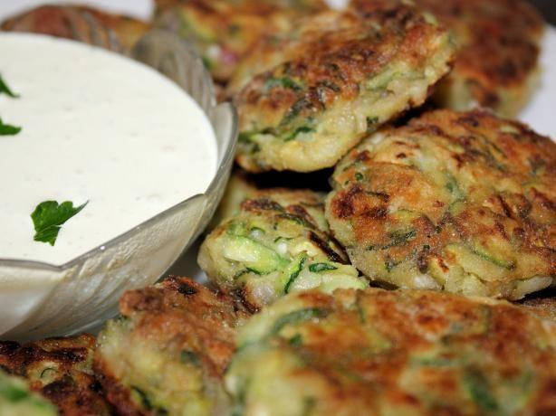 Zuchini Fritters with a Mediterranean yogurt/cucumber/mustard dip!  Yum!