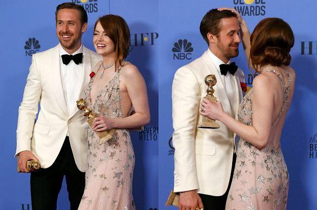 Zdjęcie numer 1 w galerii - Złote Globy 2017. Czułości Stone i Goslinga, Natalie Portman w zaawansowanej ciąży i wpadka Ratajkowski [ZDJĘCIA]