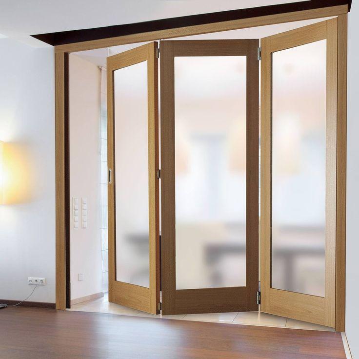 Freefold Oak Pattern 10 Style Folding 3 Door Set with Obscure Glass, Height 2090mm, Width 1890mm. #oakfoldingdoors #glazedoakfodlingdoors #xljoineryfoldingdoors