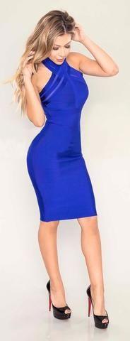 Rocio- Royal Blue Criss Cross Bodycon Midi Bandage Dress