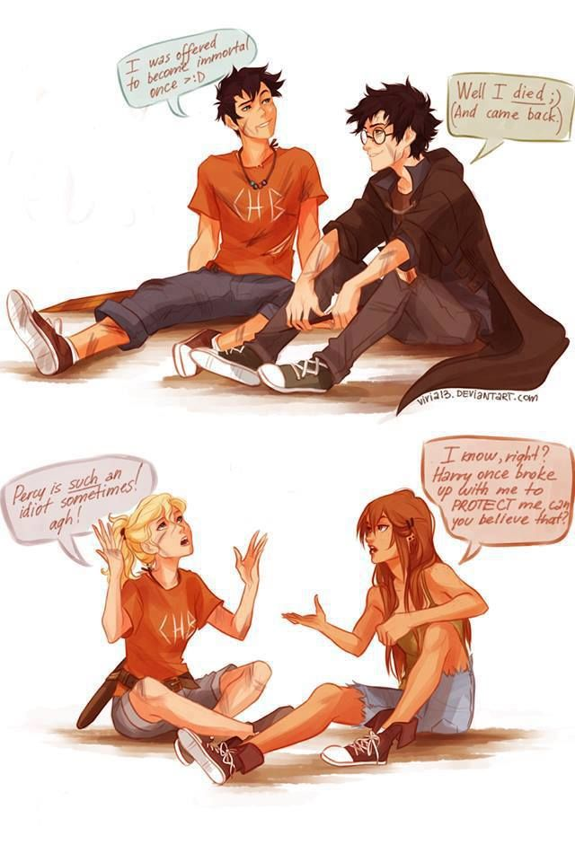 Harry Potter and Percy Jackson :))