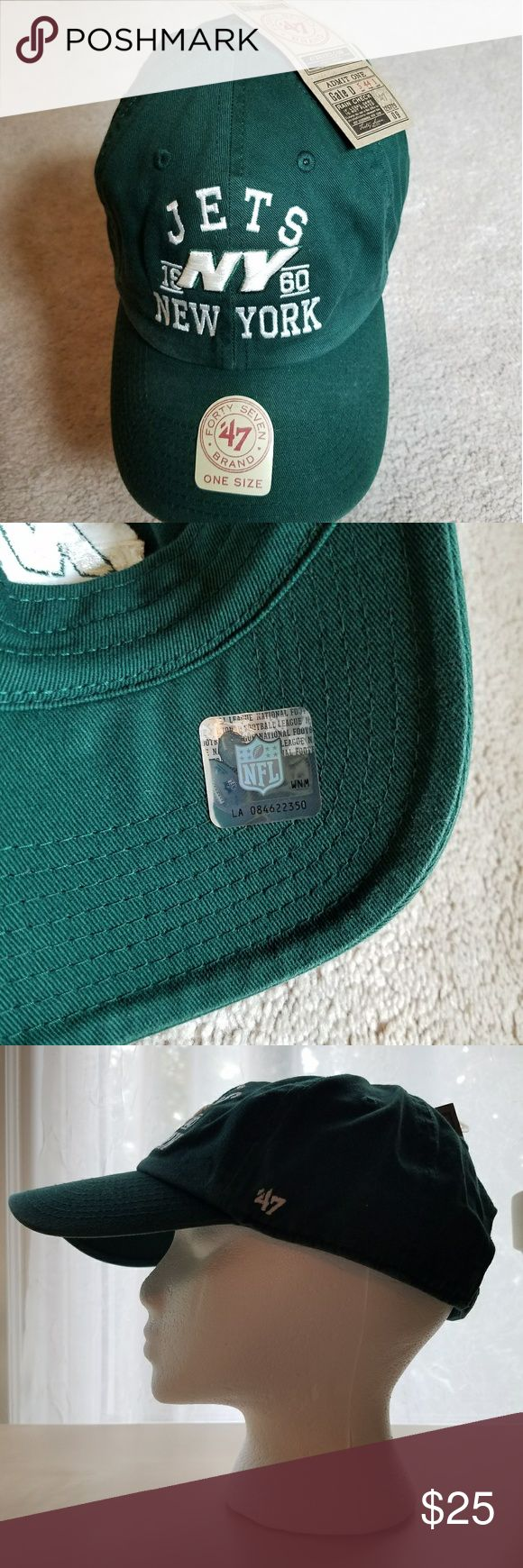 Jets NFL Official Hat This Jets official NFL hat is brand new and includes all tags and authenticating stickers. The unisex cap comes in an adult standard one size featuring an adjustable strap that will look great on any sports fan. Keep the sun out of your eyes and your head protected in official football gear! Accessories Hats