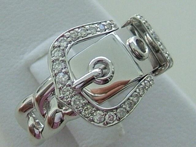 White Gold Diamond Belt Buckle Ring