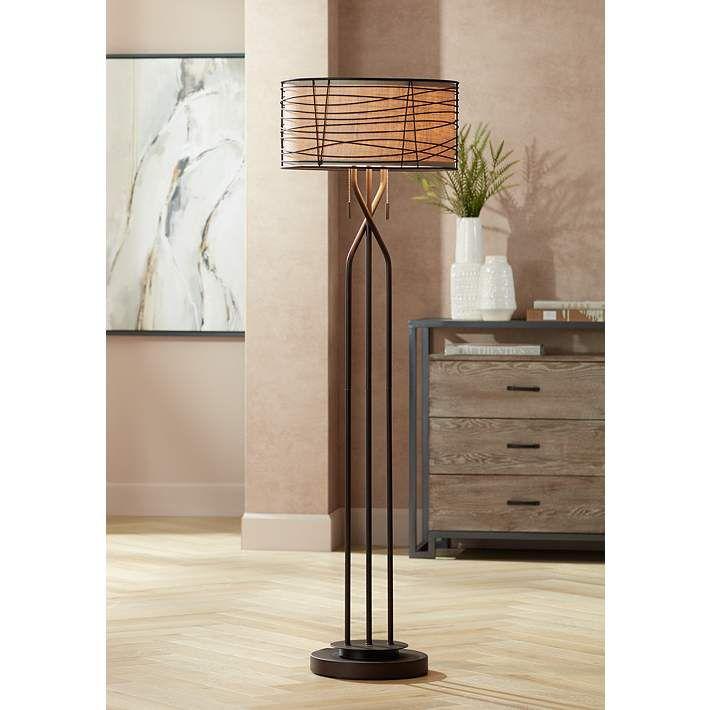 Marlowe Bronze Woven Metal Floor Lamp By Franklin Iron Works
