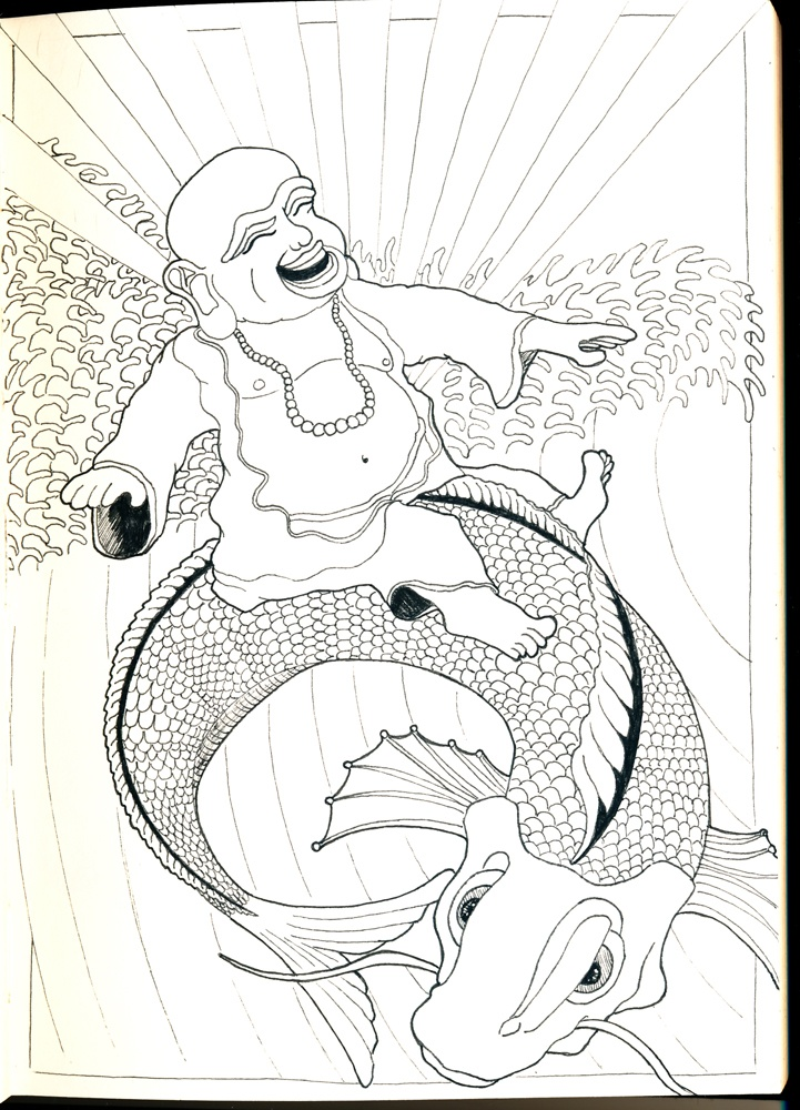 "Budha Surf - by VKorpela | Part of the ""Doodling at Work (Vol.1)"" illustrations"
