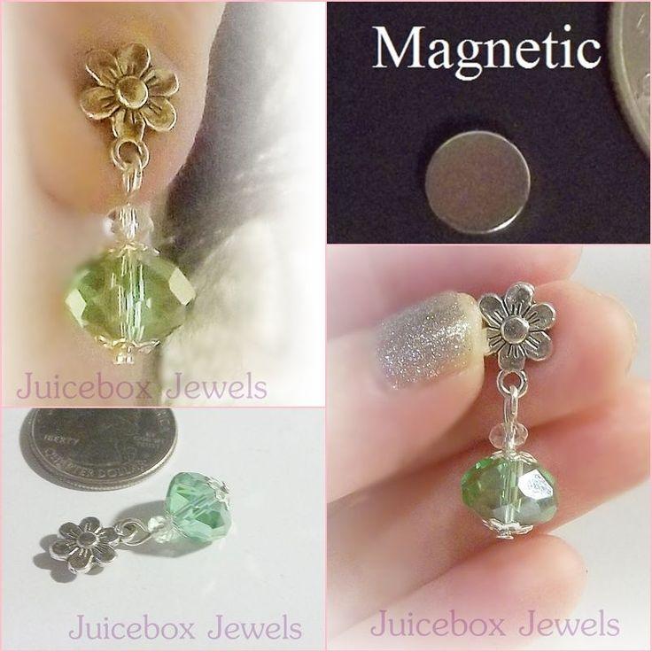 MAGNETIC Earrings,Lt Green Glass,Silver Plated Flower Dangle Non-Pierced #M177 #Handmade #DropDangle