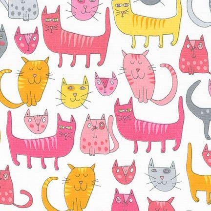 Doodle Pop Cats Pink Andie Hanna Robert Kaufman by KiwiFabric
