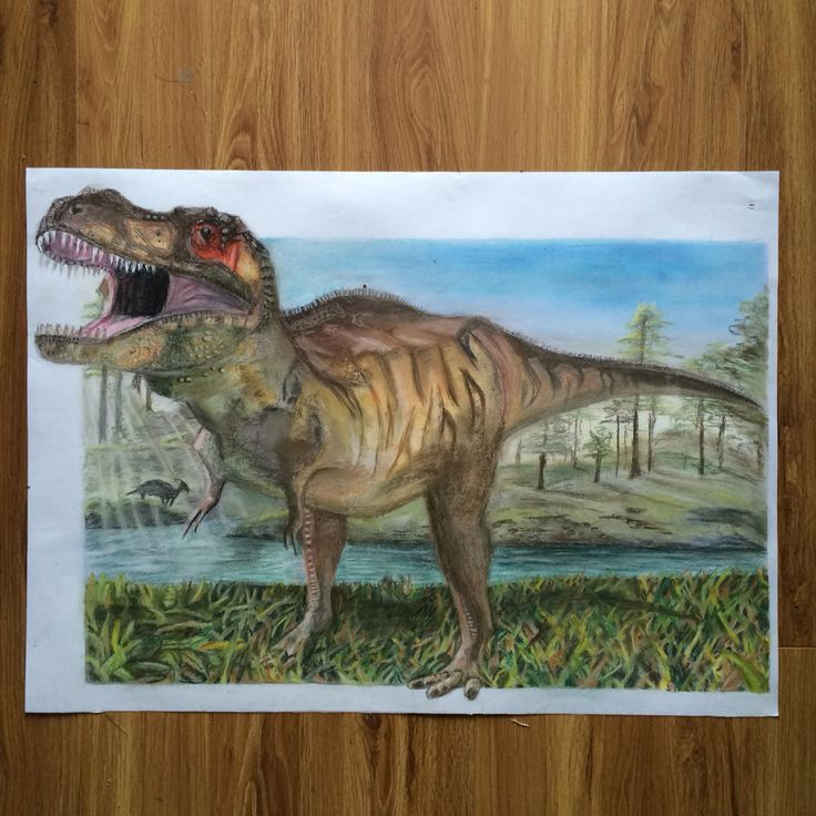 T-Rex soft pastel drawing
