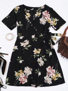 Mini Robe Enroulé à Fleurs