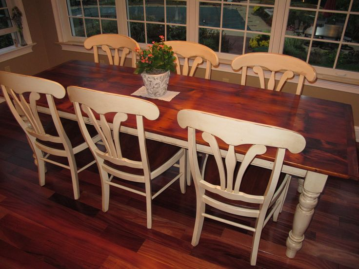 White Pine Barn Wood Table with antique white legs and glaze our manor house