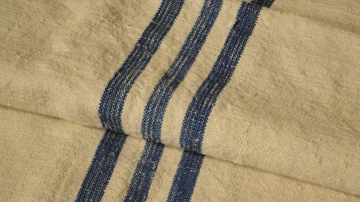 Antique European Feed Sack GRAIN SACK Blue Stripes #5197
