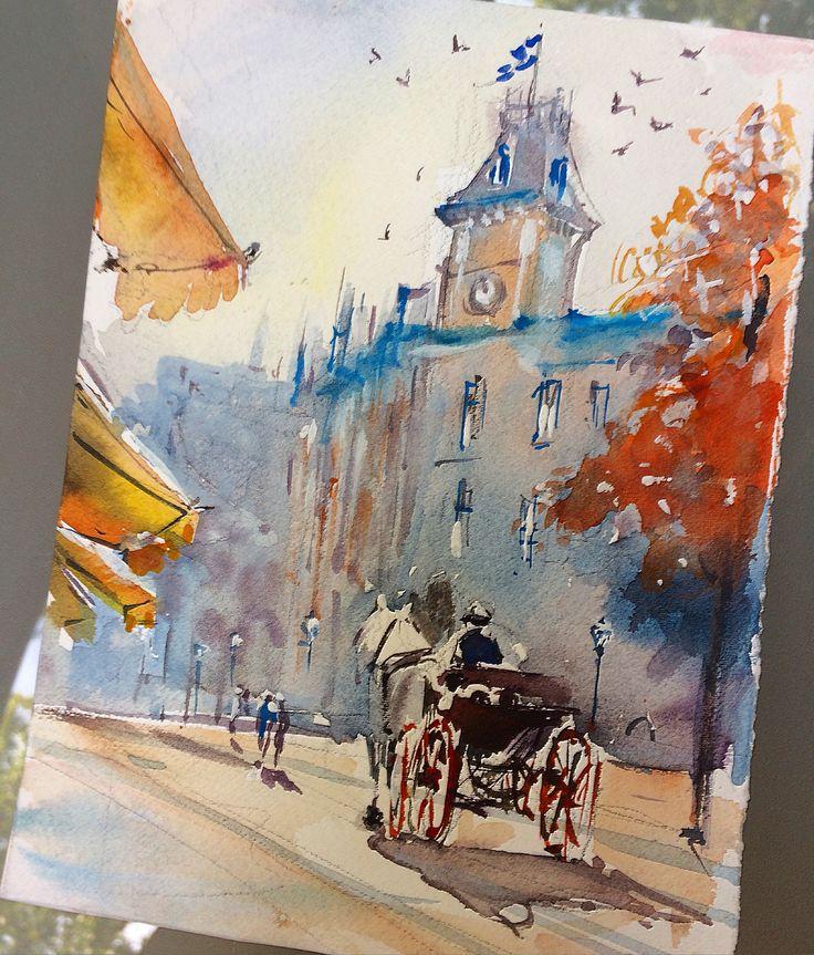 Hanna Zahorna watercolour painting of Quebec City 2017 #watercolorpainting #quebec #cityscape #watercolor #aquarelle #акварель #watercolorart #hannazahorna