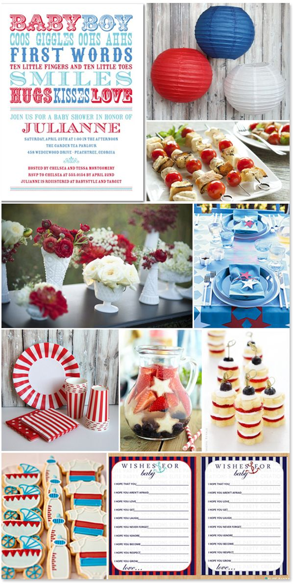 red, white and blue baby shower inspiration
