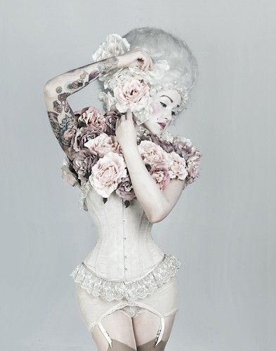 One of the most gorgeous modelling images, ever!White Hair, Fashion, Marie Antoinette, Corsets, Rococo, Garters Belts, Flower Bombs, Mary Antoinette, Tattoo