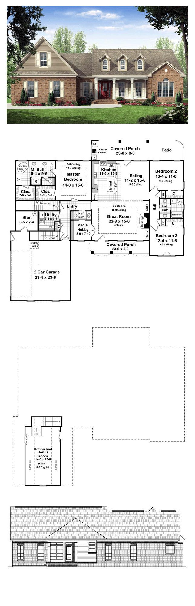 25 best ideas about ranch house exteriors on pinterest for Rear master bedroom house plans