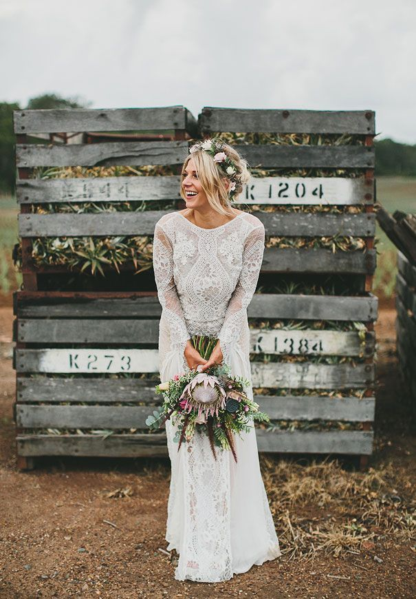 Hello May. Grace Loves Lace bride. Floral crown style. Rustic country wedding.