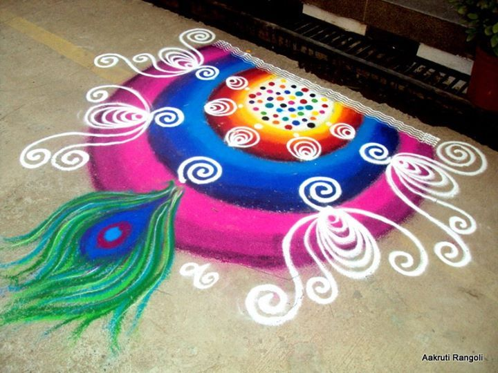 Special Happy Diwali Rangoli Design With Dots For Deepavali 2014