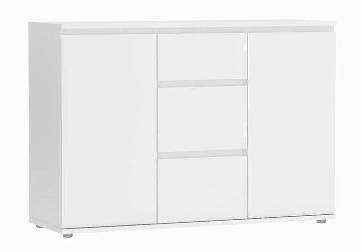 Nova Skænk  - Hvid skænk med tre rummelige skuffter og to skabe. Skænken har et flot og enkelt design, hvor der er masser af plads til opbevaring af dine ting.  Kommodens greb er placeret som en kant på toppen af skuffe- og skabskanterne.