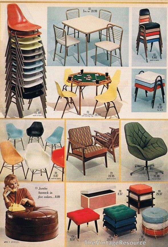 60's chairs and ottomans