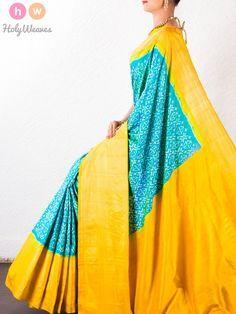 #Blue #Katan #Silk # #Pochampally #Handwoven #Saree #HolyWeaves
