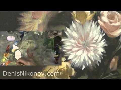 Голландский натюрморт. Как написать хризантему - YouTube