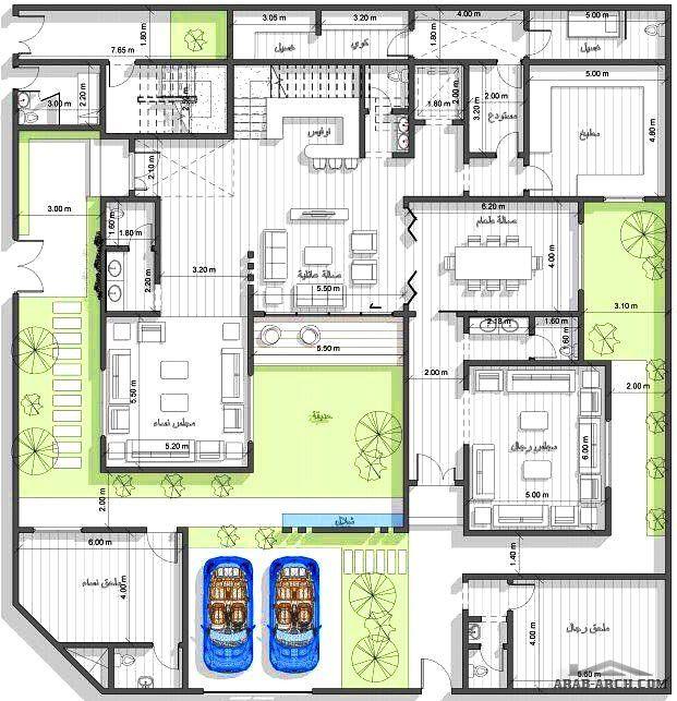 مخطط فيلا دورين وشقه بالملحق العلوي مساحة الارض 25x25 تصميم شركة فأس Model House Plan My House Plans Family House Plans