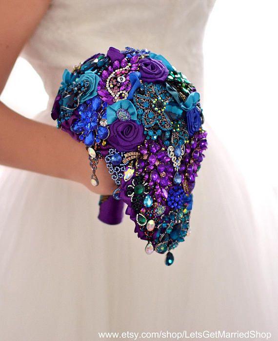 Peacock Wedding Gift Bouquet. Brooch Bouquet Cascading Bouquet