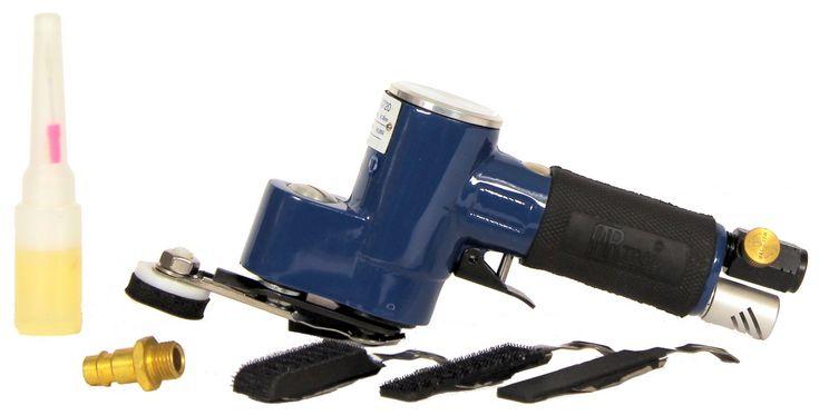 """Druckluft Exzenter-Fingerschleifer Schleifblüten 32 mm - 36 mm  Exzenter-Fingerschleifer Druckluft zur Verarbeitung von Schleifblüten / Staubblüten (32 mm bis 36 mm) für die professionelle Bearbeitung von punktuellen Lackeinschlüssen (""""Pickel""""), Lackfehler, Lack-Fehlstellen wie z.B. Lackläufer in Industriequalität plus Zubehör: 3 Stück verschiedener Stützteller für Klett und selbstklebende Schleifmittel."""