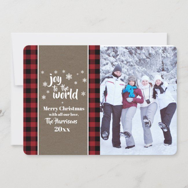 Rustic Buffalo Plaid Christmas Photo Greeting Holiday Card Zazzle Com Christmas Photo Greeting Buffalo Plaid Christmas Diy Christmas Photo