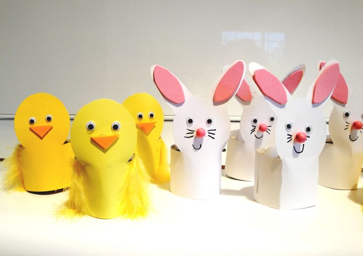 Chick & bunnies egg holder craft