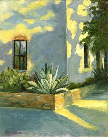 Back Corner of Gueros, Austin, TX Oil on Board