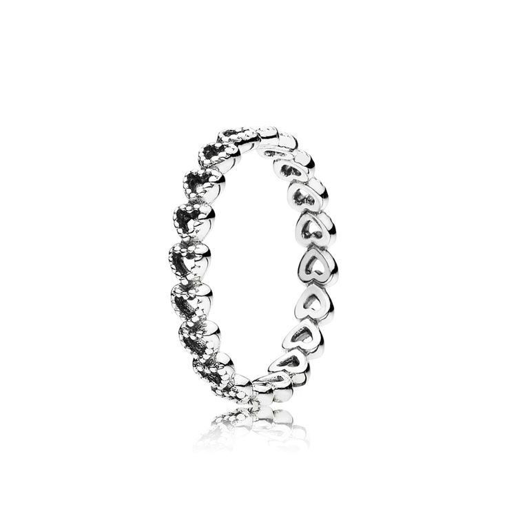 Simple yet elegant, this sterling silver ring is comprised of a series of connected hearts. With beaded details and meaningful design, it will add a chic expression to every ring stack. #PANDORA #PANDORAring