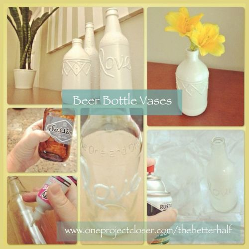 Beer bottle vases! cheap and super cute! #DIY #crafts #decor #5minutes or less #the better half