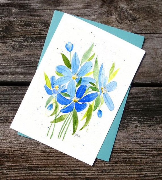 Anemone Watercolor Printed Greeting Card  Birthday Just