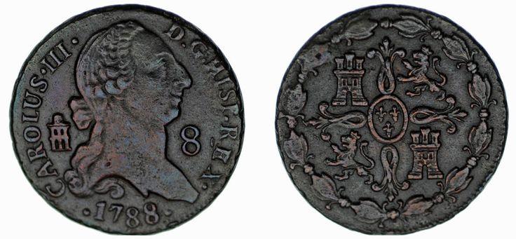 8 MARAVEDÍS. Cu. CHARLES III - CARLOS III. SEGOVIA 1788. XF-/EBC-. ATRACTIVA.