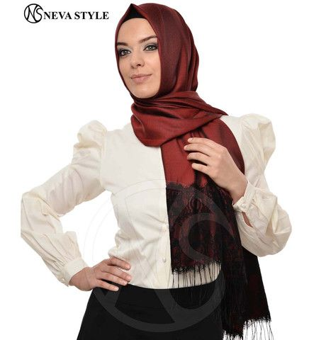 Neva Style Turkish Hijab Lace Fringed Shawl 1155 Red | Modefa USA