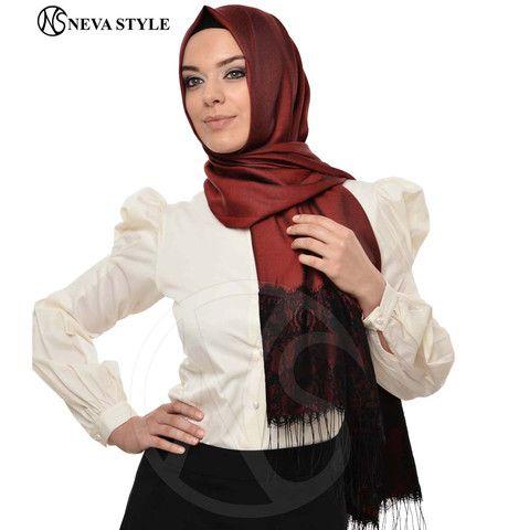 Neva Style Turkish Hijab Lace Fringed Shawl 1155 Red | Modefa USA