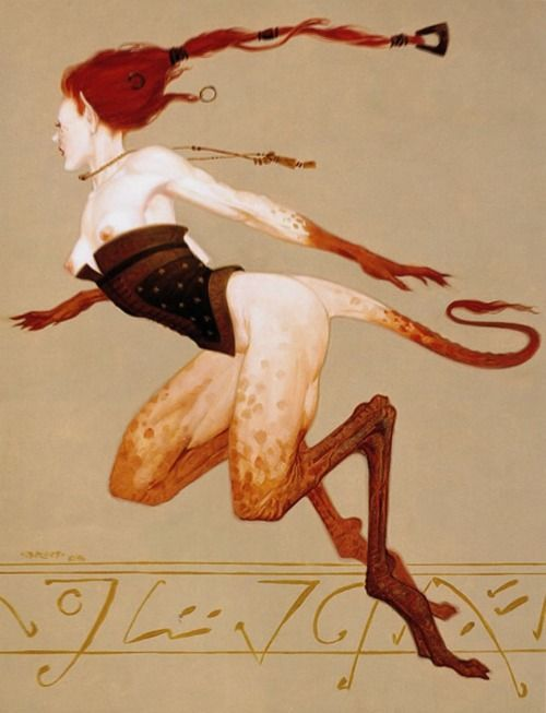 """Gazelle,"" a 1996 painting by (Gerald) Brom for the Friedlander Publishing Group's card game Dark Age."