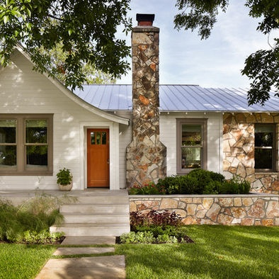 Exterior House Colors With Brown Roof Design, Pictures, Remodel, Decor and Ideas - page 4 (mk) we have a totally different house but the stone is the same color as our brick, cream, taupe, and orange door - this looks so nice to me but would it translate?